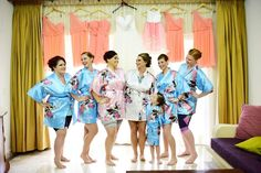 Matching bridesmaids robes have been a serious trend for several years, and we don't see this going away anytime soon. Getting ready photography is always better when you're matching with your best ladies! Bridesmaid Robes, Bridesmaids, Destination Wedding Favors, Bobby, Kimono Top, Culture, Lady, Photography, Women