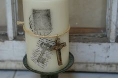 Charm Bracelet Diva {at Home}: Shabby Chic Stamped Candle How-To and An Announcement (or two)