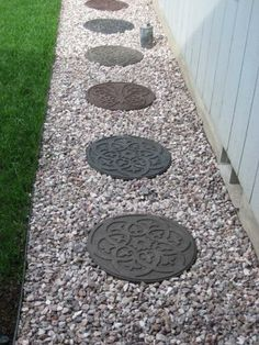 Envirotile Reversible Scroll 18 in. Terra Cotta Round Rubber Stepping - The Home Depot Round Pavers, Round Stepping Stones, Stepping Stone Pathway, Decorative Stepping Stones, Flagstone Path, Patio Stone, Patio Lanterns, Landscape Steps, Outside Living