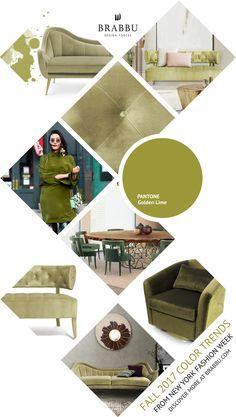 Fall 2017 Color Trends From London Fashion Week: Golden Lime | Interior Design Inspiration @Pantone #colortrends #falltrends #colors See more inspiration: https://www.brabbu.com/moodboards/
