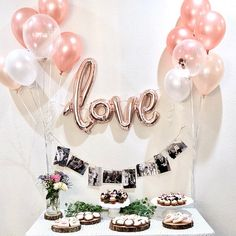Rose Gold Balloons Love Balloon Rose Gold Balloon Bridal Shower Wedding Decor Rose Gold Wedding Rose Gold Bridal Shower Confetti Balloons - Stephanie Jackson added a photo of their purchase Imágenes efectivas que le proporcionamos sobre di - Engagement Party Planning, Engagement Party Decorations, Bridal Shower Decorations, Engagement Dinner Ideas, Engagement Party Desserts, Backyard Engagement Parties, Elegant Party Decorations, Anniversary Party Decorations, Wedding Balloon Decorations