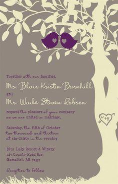 Custom Love Birds Wedding Invitations - Gray and Purple - Listing for blairbarnhill87