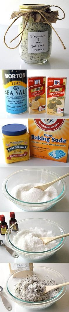Relax your feet every night using a bowl of water and a DIY Homemade Foot Soak. To make this foot soak you will need only natural ingredients: 1 cup sea salt, 1 cup Epsom salt, 2 tablespoons of peppermint tea, 4 tablespoons of pure peppermint extract, 3 t Homemade Foot Soaks, Diy Foot Soak, Pedicure Soak, Manicure E Pedicure, Pedicures, Pedicure Designs, Pedicure Tools, Baking Soda Bath, Peppermint Tea