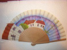 """Abanico"""" Almeria"""" diseñado y pintado a mano por Abanicos Disimusa, Madera de Peral ,País de Algodón recortado Medidas 23 cm Mas modelos en www.disimusa.com y en facebook en www.facebook.com/..."""