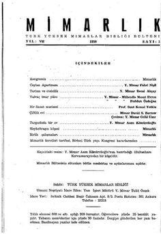 Mimarlık Dergisi – 7.Yıl (1950) – 1.Sayı