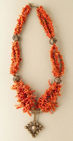 Morocco, branch coral and silver necklace
