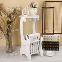 NEW White Wooden Telephone Side Table With Drawer Small End Table Plant  Stand