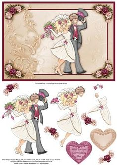 WEDDING Whimsical Bride Groom Topper and Decoupage on Craftsuprint designed by Janet Briggs - Wedding topper with step by step decoupage.Features a cute whimsical bride and groom and makes a lovely modern wedding card.2 sentiment tags provided, one in ivory and one in burgundy.The burgundy tag, includes the sentiment, With Love on Your Wedding Day.The ivory tag, is blank for your on greeting. - Now available for download!