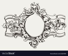 Illustration of Antique Ornate Frame Engraving vector art, clipart and stock vectors. Filigree Tattoo, Gothic Tattoo, Brust Tattoo, Boarders And Frames, Tattoo Lettering Fonts, Vintage Wreath, Metal Embossing, Wedding Cards Handmade, Baroque Pattern
