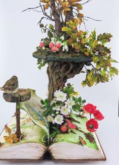 """I've had the book """"Diary of an Edwardian Country Lady"""" on my shelf for many years. So was excited to be asked by Cake Masters Magazine to join a few other cake artists to create pop up book themes. Flowers are all sugarpaste as well as the."""