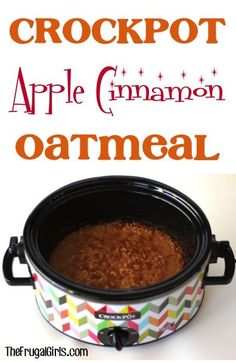 Crockpot Apple Cinnamon Oatmeal Recipe! ~ from TheFrugalGirls.com ~ cozy up this winter with this delicious, thick and hearty slow cooker oatmeal! #slowcooker #recipes #thefrugalgirls