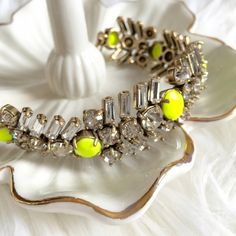 Bling bling bracelet Beautiful sparkling bracelet with neon yellow accent. Brand new with tag. J. Crew Jewelry Bracelets
