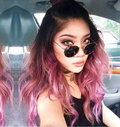 black hair with pink ombre scrams pink sapphire
