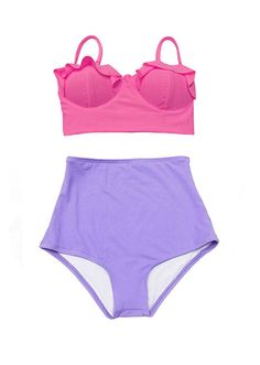 a6ee083b97574 Pink Midkini Top and Violet Lavender Highwaisted Bow Tops
