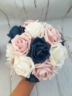 Navy Blue Wedding Theme, Navy Blush Weddings, Blue And Blush Wedding, Cream Wedding, Rose Wedding, Colors For Weddings, April Wedding Colors, Wedding Flowers, Popular Wedding Colors