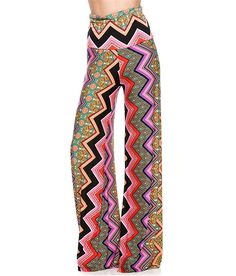 Womens Fold Over Waist Wide Leg Palazzo Pants (M, Fuschia Chevron Abstract) -- Visit the image link more details. (This is an affiliate link) #JoggerPants