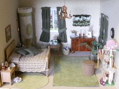 Large Miniature Bedroom in 1/12 scale.