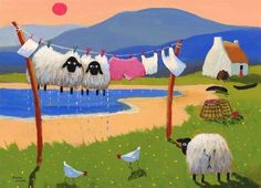 Crazy Cross-stitcher: The Whimsical World of Thomas Joseph - Hand Wash Only Illustrations, Illustration Art, Art Fantaisiste, Sheep Art, Art Populaire, Knitting Humor, Knit Art, Sheep And Lamb, Clothes Line