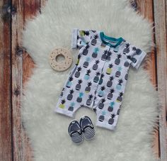 Baby boy summer romper//pineapple baby outfit//liltrendiesboutique
