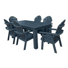 Outdoor Highwood Hamilton Recycled Plastic 7 Piece Rectangle Adirondack Patio Dining Set - AD-DNA37-
