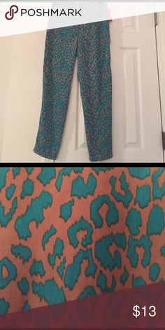 Cheetah Print Pixi Pants Cheetah print pick pants featuring colors of grey/taupe and teal. Size 3, new with tags, never worn. Xhilaration Pants Straight Leg