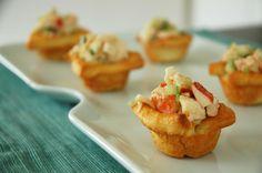 LobsterSalad in mini crescent cups