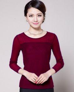 TC003871 Long sleeve gauze T-shirt lace bottoming shirt for women