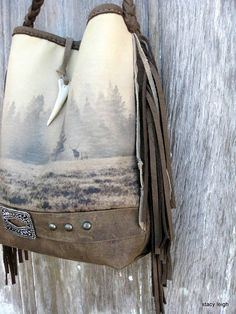 Wilderness Collection Leather Fringe Bag in Neutral Colors Elk Scene by Stacy Leigh