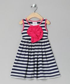 Take a look at this Navy & White Stripe Peony Dress - Toddler & Girls by Freckles + Kitty on #zulily today!
