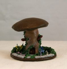 Yellow Lily Mushroom House for Fairy or Elf