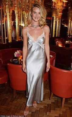 Rosie Huntington-Whiteley in silk nightgown with at Rosie For Autograph launch Belle Lingerie, Satin Lingerie, Lingerie Dress, Lingerie Slips, Rosie Huntington Whiteley, Rosie Whiteley, Satin Gown, Satin Dresses, Nice Dresses
