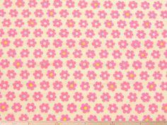 肌触りの良い、シンプルなデイジー(花柄)コットンダブルガーゼプリント(白地×ピンク) 110cm巾 綿100%  - そーいんぐ・すていしょんコミニカ