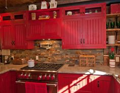 Rustic red cabinets