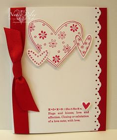 "xoxo Stamps: Love You Much, Define Your Life Paper: Real Red and Whisper White Cardstock Ink: Real Red Embellishments: Real Red 5/8"" Grosgrain Ribbon Tools: Heart to Heart Punch, Eyelet Border Punch Supplies: Stampin' Dimensionals"