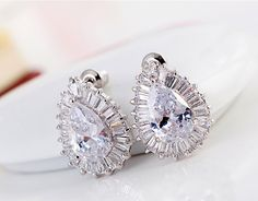 Wedding Clear AAA+ Cubic Zirconia Pierced Earrings Silver-Tone