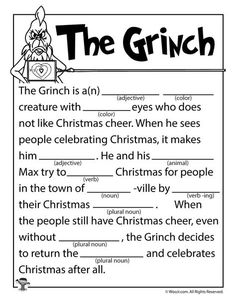The Grinch mad lib. Grinch Party, Grinch Christmas Party, Christmas Games, Christmas Holidays, Funny Christmas, Christmas Carol, Christmas Mad Libs For Kids, Christmas Activities For Adults, Xmas Games