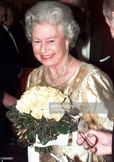 Queen Elizabeth ll, wearing a gold dress for the occasion, arrives at the Festival Hall for a Royal Gala to celebrate her Golden Wedding Anniversary on November 1997 in London, England. Get premium, high resolution news photos at Getty Images Hm The Queen, Queen B, Golden Wedding Anniversary, 50th Anniversary, English Royal Family, Royal Uk, Festival Hall, Royal Jewels, Queen Elizabeth Ii