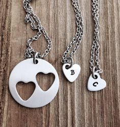 Mother daughter necklace set stamped jewelry mother and two daughters gift for mom mothers gift on Etsy, $38.00