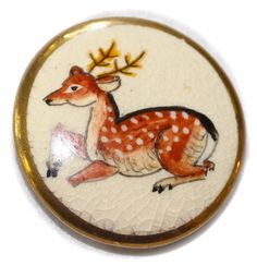 Vintage Satsuma Deer Button - Medium by KPHoppe on Etsy