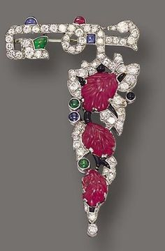 Art Deco Colored Stone and Diamond Brooch, French, circa 1925 - Sotheby's