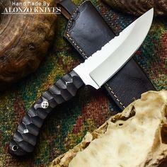 ALONZO KNIVES USA CUSTOM HANDMADE TACTICAL BUSHCRAFT 1095 KNIFE MICARTA 528 #AlonzoKnives
