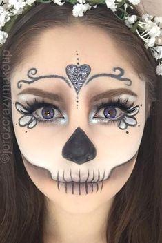 Easy Skeleton Makeup, Skeleton Makeup Tutorial, Sugar Skull Makeup Tutorial, Halloween Makeup Sugar Skull, Cute Halloween Makeup, Sugar Skull Makeup Easy, Sugar Skull Make Up, Halloween Halloween, Vintage Halloween