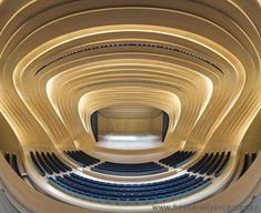 Complex Oak Curvilinear Interior in Hadid Concert Hall  |  WoodworkingNetwork.com