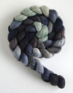Mixed BFL/ Silk Wool Roving Top  Handpainted by threewatersfarm, $22.50