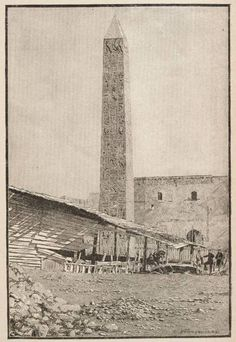The Obelisk now in Central Park, New York, as it Stood in Alexandria, Egypt - Cleopatra's Needle 1884
