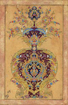 gazophylacium:Illumination in the form of a vase Bijapur, c. 1650.