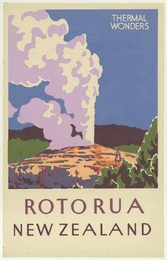 Vintage Travel Poster - Portugal [New Zealand] Rotorua - Thermal Wonders Vintage Indiana travel poster New Zealand Art, New Zealand Travel, Rotorua New Zealand, Posters Australia, Pub Vintage, Vintage Kitchen, Vintage Diy, French Vintage, Tourism Poster