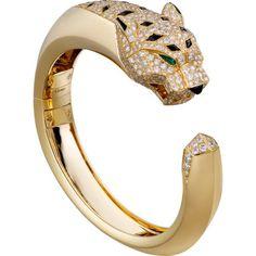 Panthère de Cartier bracelet Yellow gold, diamonds, emeralds, onyx (€71.140) ❤ liked on Polyvore featuring jewelry, bracelets, yellow gold jewelry, onyx bangle, diamond jewellery, gold diamond bangles and diamond bangles #diamondbracelets