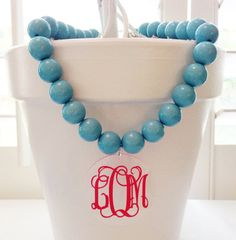 Monogram Necklace Oversized Beads with Acrylic by ArentYouCute Great Bridesmaid gifts. Monogram Jewelry, Monogram Necklace, Monogram Gifts, Monogram Letters, Monogram Initials, Thing 1, Bracelet Set, Bridesmaid Gifts, Turquoise