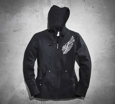 Casual comfort gets a touch of chic. | Harley-Davidson Women's Rhinestone Wing Hoodie